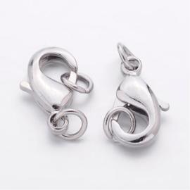 Platinum verbindingssluiting met ringen 12 x 7 x 3mm gat ring: 4mm