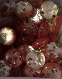 Per stuk Plaksteen glas Italian style bruin/oranje zilverfolie multi rond 12 mm