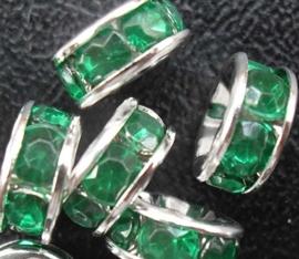 50 stuks Verzilverde Kristal Rondellen 8 mm groen