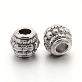 4 x Tibetaans zilveren kraal 8 x 6,5 mm gat: 3,5mm