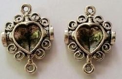 Per stuk Luxe kastje kastje/hanger hart 26 mm
