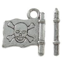 Tibetaans zilveren piratenvlag 4 x 16 x 2mm, gat c.a. 2mm