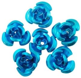 25 stuks aluminium roosjes 12 x 7mm gat: 1mm turquose-blauw