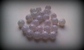 10 Stuks glaskraal facet mat wit/licht grijs 12 mm