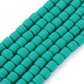 40 x handgemaakte polymeer klei kralen dark cyan 6,5 x 6mm gat: 1,2mm