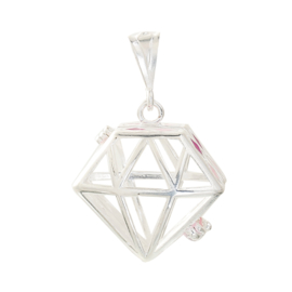 Engelenroeper hanger  geschikt voor 16mm klankbolletje diamant verzilverd  met roze  emaile