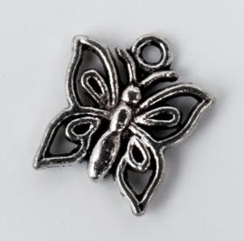 10x Tibetaans zilveren bedel van een vlinder 14,5 mm x 12,8 mm