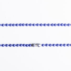 Ball chain ketting met sluiting 2mm x 80cm incl. sluiting blauw