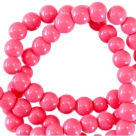 25 stuks  3 mm glaskralen opaque Raspberry rose gat 0,8mm
