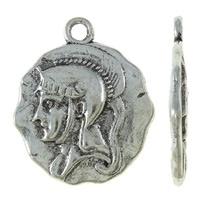 4 x Prachtige Tibetaans zilveren bedel van de Ridder 20 x 24 x 2mm, Oogje 2mm