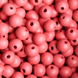 20 x Houten kraal  8mm kleur: rood gat: 2mm