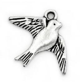 2x Bedel Vogel Antiek Zilver 23x18 mm