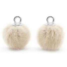 2 x Pompom bedels met oog faux fur 12mm Sand beige-silver
