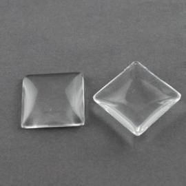 4 x cabochon glas transparant vierkant 25mm