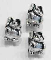 Per stuk Metalen European Jewelry bedel kraal  Konijn 14 mm