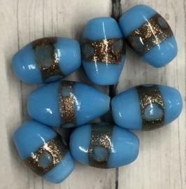 10 stuks ovale glaskralen met een gouden lijn 15mm gat 2mm