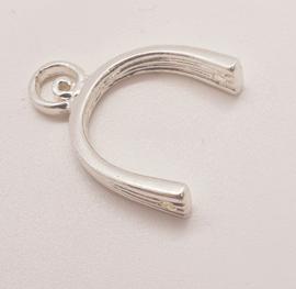 2 x  metalen bails verzilverd 22,5 x 17mm gat zijkanten 2mm