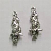 2x Antiek zilveren metalen bedel papagaai 26 mm