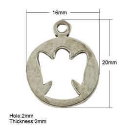 4 x Tibetaans zilveren bedeltje van een engeltje  20 x 16 x 2mm oogje: 1mm
