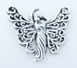 4 x Engel bedel Tibetaans Zilver  26 x 27 mm