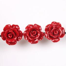 4 x Roosje 12mm  rijggat 1 mm rood