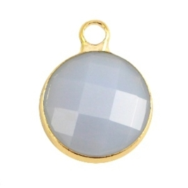 Crystal glas hanger rond 12mm Light grey opal-Gold