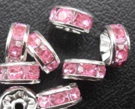 50 stuks Verzilverde Rondellen 8 mm Roze