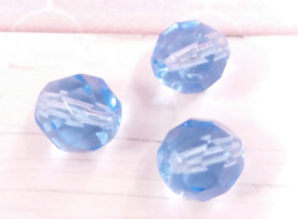 10x glaskraal facet transparant blauw 8 mm Gat: 1 mm