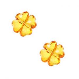 10 x Kinderkralen acryl facet klaver oranje 18 mm