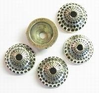 10 x  Antiek zilveren metallook kraalkapje bewerkt 14 mm