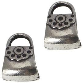 2 x Metalen Kraal Tas 15x11 mm Antiek Zilver Ø 4-5 mm