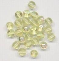 20 stuks Glaskraal rond transparant Geel AB 4 mm