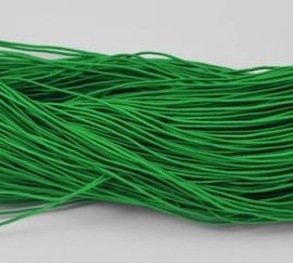 8 meter rond elastisch koord van rubber voorzien van een laagje stof 1mm groen
