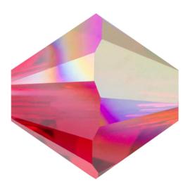 10 x Preciosa Kristal Bicone ca. 6mm gat: 1mm Red AB