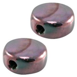 1 x DQ Griekse keramiek kralen 13mm rond plat Turquoise groen/rose  ca. 13 mm Ø 2.5 mm
