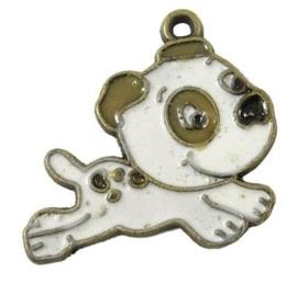 2 x Tibetaans zilveren hanger Hondje 22 x 16 x 1mm Gat 1mm geel koper kleur