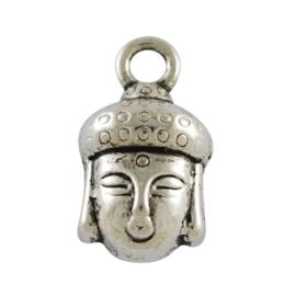 4 x Tibetaans zilveren bedeltje van een Buddha 14 x 8mm x 7,5mm Gat: 2mm