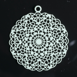 1x Hanger Bohemian rond 24mm mint groen oogje: 1,5mm