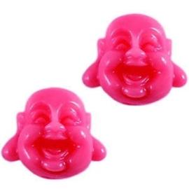2 x Buddha Kraal Resin 12 mm Fuchsia Roze