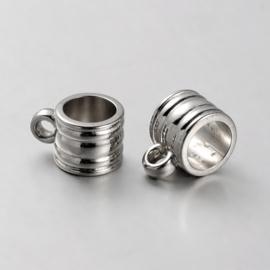 10 x acryl bails platinum hanger met oogje   9x14x11mm oogje: 3mm Ø 8mm