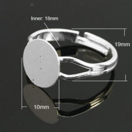 Verstelbare basis ring, diameter c.a. 18mm , maat van de ringdop: 10mm verzilverd