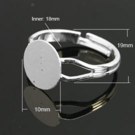 Verstelbare basis ring, diameter c.a. 18mm , maat van de ringdop: 10mm verzilverd