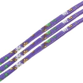 20 cm Trendy gestikt koord  7 x 5mm paars lila