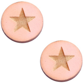 2 x Houten cabochon 12 mm star large Pink