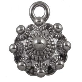 Stainless Steel Zeeuwse Knop Bedel 16 x 13 mm Antiek Zilver