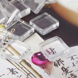 4 x cabochon glas transparant vierkant 20mm