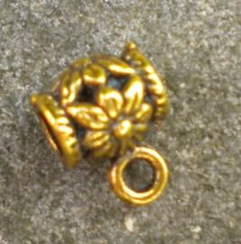 4 x Tibetaans zilveren tonnetje goudkleur 8x11 mm
