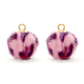 Nieuw!  Pompom bedels Faux fur goud leopard Pink