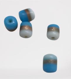 10 stuks glas kraal india tonnetje blauw/wit 10x8.6mm gat: 2mm