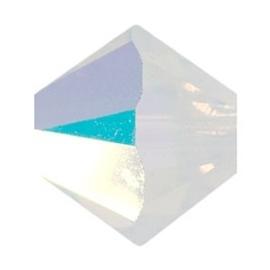 10 x Preciosa Kristal Bicone 6mm White Opal AB
